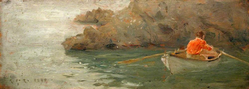 Tuke, Henry Scott, 1858-1929; Boy Rowing out from Rocky Shore